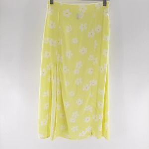 Planet Gold Midi A-Line Skirt Floral Print